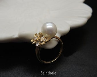 10mm South Sea Pearl Engagement Ring