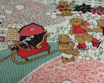 "Christmas Bears Fabric Remnant, 3yd x 44""W"