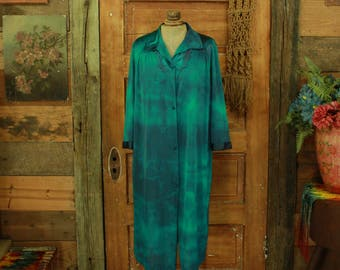 SALE vintage 1960s hand dyed green & blue slip dress night gown robe cover up M L