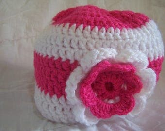 Girl's Pink & White Stripe Beanie with Flower