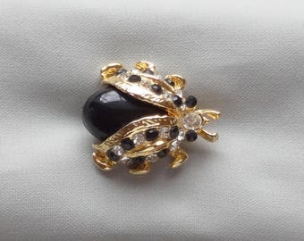 Vintage Black Cabochon/Rhinestone Gold Plated Beetle Bug Scatter Pin