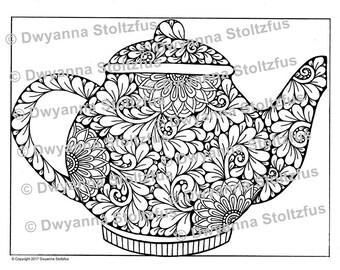 Floral Tea Pot Coloring Page PDF