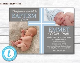 Baptism Invitation Boy, Baptism Invitation Printable, Boy Baptism Invitation, Printable Baptism Invitation, Party Invite Boy, TEMPLATE