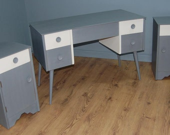 Trendy! Up-Cycled Vintage Retro Dressing Table & Two Matching Bedside Cabinets