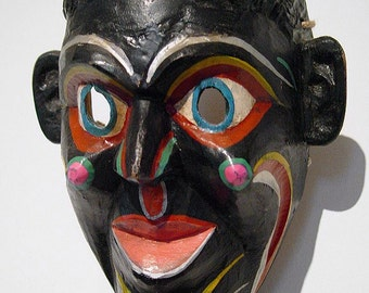 Vintage Mexican Negrito Payaso Ceremonial Wooden Dance Mask Mexico