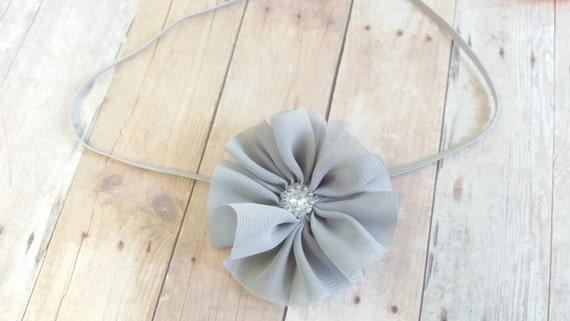 Baby Grey Headband, Vintage headband, Chiffon Headband, Newborn Flower Headband, Headbands For Teens, Flower Headband Baby, Grey Headband