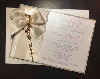 Christening/Baby Shower/Engagement/Wedding Rosary Bead Invitation