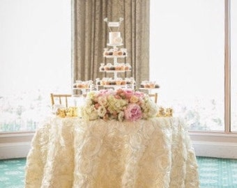ROSETTE Satin Blush, Ivory,Champagne, White Tablecloth For Wedding And All  Other Events