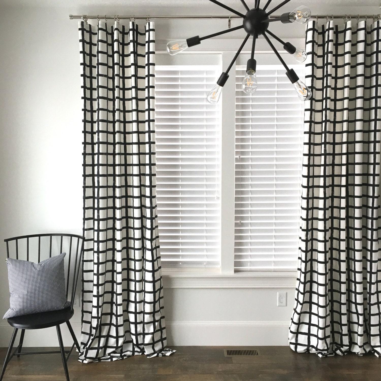 Windowpane Plaid Drapes, Black and White Drapes, Check Drapes ...