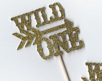 12 Wild One cupcake topper  | First birthday | Birthday party