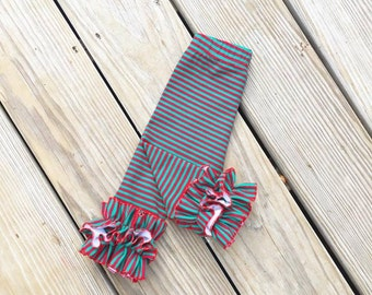 Christmas stripes double ruffle leggings, baby red green stripes icings, girls christmas ruffle leggings, newborn icings, holiday outfit