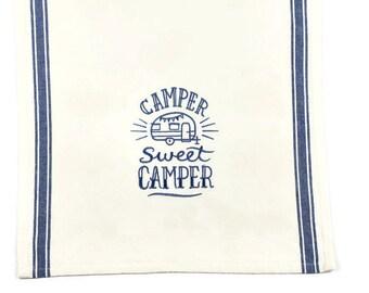 Kitchen Towel - Camper Sweet Camper Dish Towel Natural with Blue Stripe