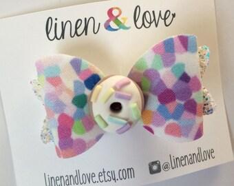 Donut Hair Bow Rainbow Confetti with Glitter - Polymer Clay Donut - Doughnut Hair Bow