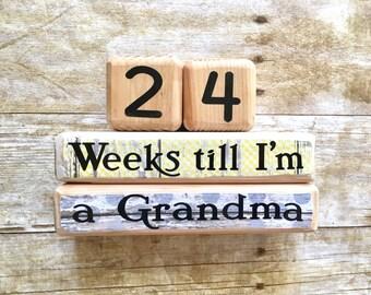 Gift for Grandma, Countdown Blocks, Pregnancy Countdown, Pregnancy Again Announcement, Grandparent gift, Baby countdown, Baby Shower gift
