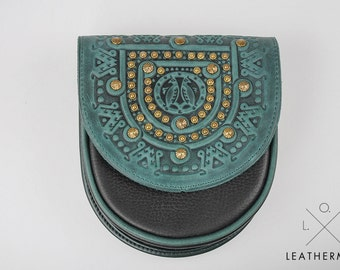 small crossbody bag, shoulder bag, Crossbody purse, embossed lether, green mini purse, leather bag with metal, leather bag, tooled leather,