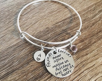 Friends forever bracelet / bangle / Friend gift / long distance friend gift / Friends forever never apart maybe in distance but not at heart