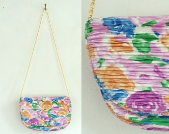 Vintage 90s Colorful Floral Textured Purse, Cross Body Purse, Textured Purse, Colorful Purse, Flowered Purse, Summer Purse, Floral Purse