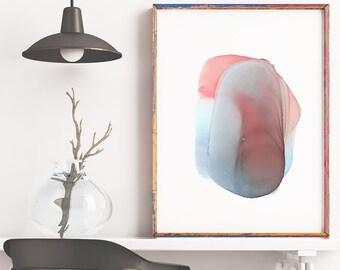 Abstract Art, Ink Art, Alcohol Ink Art, Minimalist Art, Fluid Painting, Blue and Red Art, Wall Art, Handmade, Home Decor, Large Art, 132