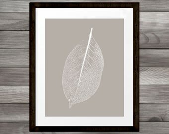 Warm grey Leaf Print, Nature Art, Home or Office Wall Art, Printable Room Decor, 8x10, INSTANT DOWNLOAD