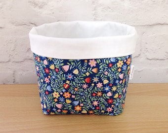 Small blue floral fabric basket, fabric storage basket, home storage, nursery storage, fabric organiser
