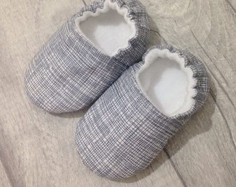 Grey baby shoes, soft sole baby shoes, baby slippers, baby booties