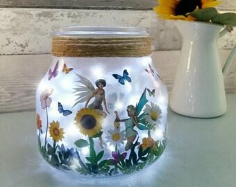 Fairy Jar night light, Butterfly light up jar, little girls room lighting, butterflies and fairies decor, magical gifts, new baby room lamp