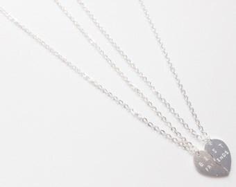 Silver best friend necklace, best friend heart necklace, best friend gift, best friend necklace for 2, heart necklace, split heart necklace