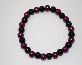 Magenta and Black Pearl Bracelet, Pink and Black, Pink and Black Bracelet, Pearl Jewelry