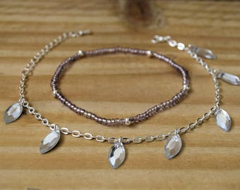 Layered anklets - Twin pack anklets - Chain and Stretch anklets -  Marquise bead chain anklet - Beaded Anklet - Two anklets - boho anklets