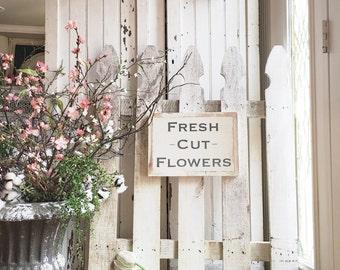 12x8 Fresh Cut Flowers HandPainted Wood Sign