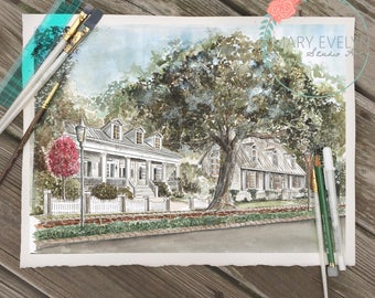 "11"" x 17"" Custom Watercolor House Illustration"