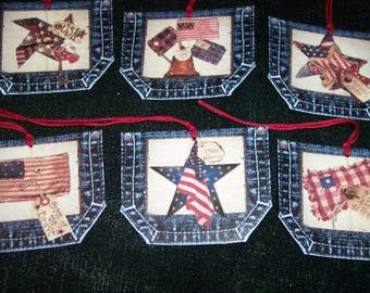 SIX Primitive Hang Tags / Gift Tags Denim Blue Jean Pockets Americana Patriotic