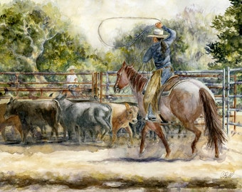Western Watercolor Cowgirl Print, Cowgirl Roping Art, Watercolor Horse and Cowgirl Print