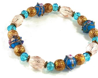 Wedding Bridesmaid Prom Turquoise Blue Copper Pink Vintage stretch bracelet