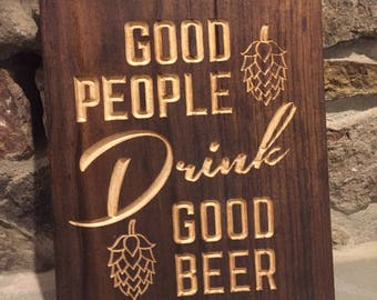Craft Beer Carved Sign