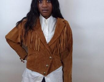 Sale Vintage suede leather fringe jacket