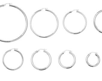 Sterling Silver .925  Plain 3mm Polished Round Hoop Earrings For Women 20mm-68mm