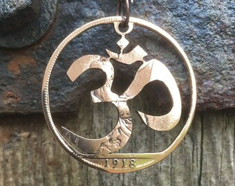 Om Symbol Cut Coin Keychain or Necklace
