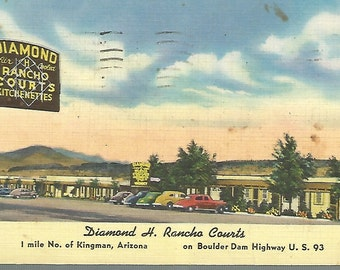 Vintage Linen Postcard 1953, Diamond H. Rancho Courts, Kingman, Arizona, AZ