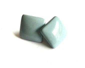 Baby Blue Vintage Square Earrings