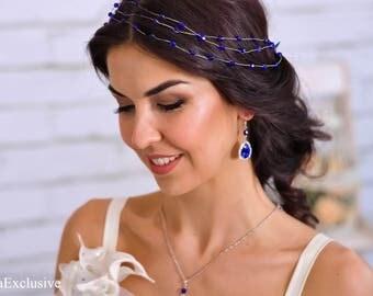 Bridesmaid hair accessories Wedding hairpiece Bridal tiara Beaded hair vine Wedding gift Bridesmaid crown Modern bride White crystal halo