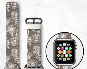 Handmade Apple Watch Series 3 Strap Apple Watch Series 3 Band Apple Watch Series 3 Band calf Leather with Adapter 38mm 42mm - Flowers