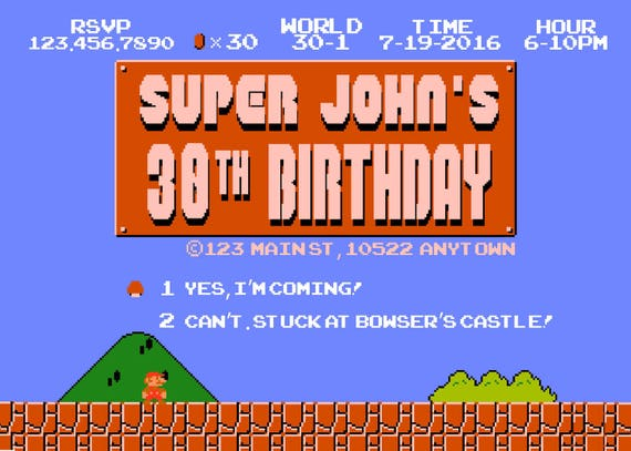 Super Mario Bros Invitation and a Thank You Card! - First Super Mario Birthday Invite - Old School Videogame Invites by Printadorable