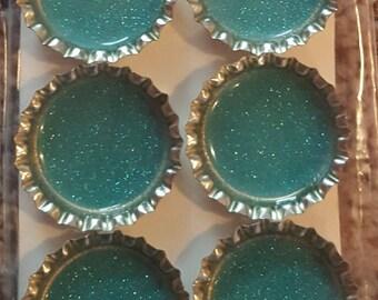 Blue Glitter Bottle Cap Magnet