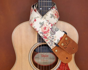 Cream Fabric Flower Guitar Strap