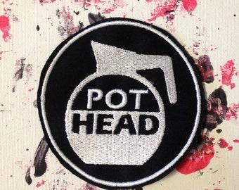 Pothead patch, coffee patch, caffeine patch, coffee pot, gift under 10, retro patch, embroidered patch, cappuccino, latte art, macchiato art
