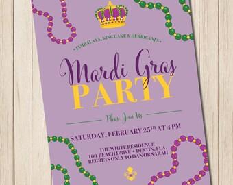 Mardi Gras Party Invitation - PRINTABLE Mardi Gras Invite