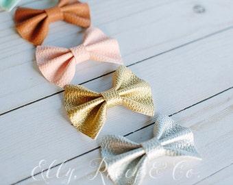 Faux Leather Mini Riley Bow - Baby & Newborn Bows / Headbands