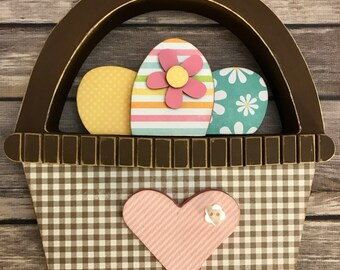 Easter Basket with Eggs - Wood Decor