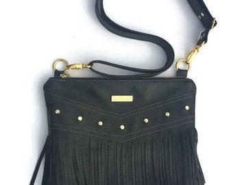 Black leather fringe purse, fringe crossbody bag, boho bag, bohemian fringe purse, leather crossbody bag, biker bag